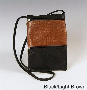 Custom Made Passport Bag, Black And Light Brown Leather