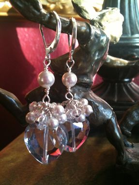 Custom Made Passion ~ Crystal White Heart Swarovski Crystal Pearl Earrings