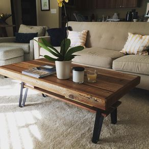 Reclaimed Wood Coffee Table With Flat Iron Legs And Shelf by B Dronkers
