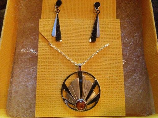 Custom Made Hand Pierced Silver And Sunstone Pendant And Necklace Set