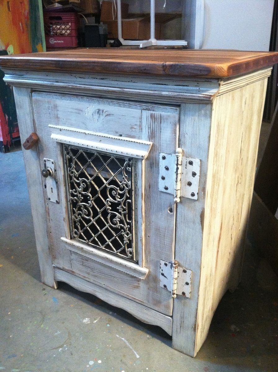 hand crafted dining room side cabinet in antique whitewash
