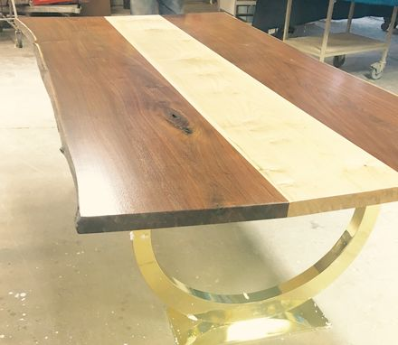 Custom Made Wide Walnut Dining Table With Maple Feature Strip & Brass Horseshoe Bases