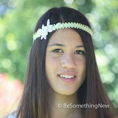 Custom Made Green Ribbon Tie Headband With Pearls, Gatsby Wedding Hair Acesories