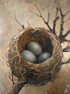 "Custom Made ""Three"" - Fine Art Giclee Print Of A Bird's Nest On Gallery Wrapped Canvas Available In Two Sizes"