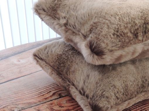 Custom Made Chinchilla Fur Beige Faux Fur 18 X 18 In. Decorative Pillow - Set Of 2