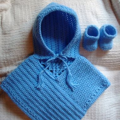 Custom Made Hooded Poncho With Matching Booties