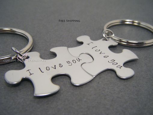 Custom Made I Love You I Love You More Puzzle Piece Keychains