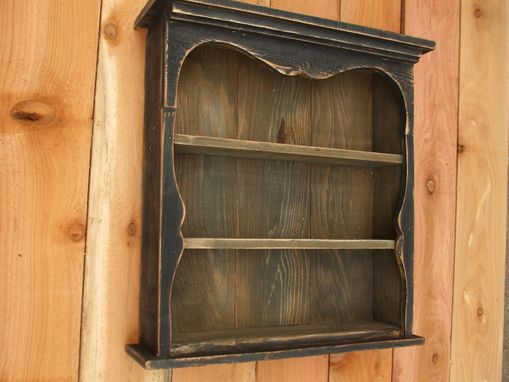 Custom Made Shabby Chic Style Black Wall Shelf, Distressed, Book Shelf,  French Country, Display Case