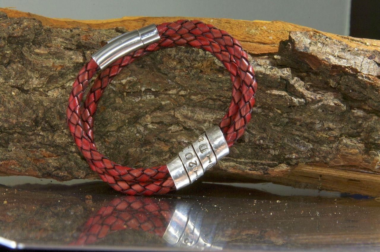 Custom Made Men S Secret Message Bracelet Leather Metal
