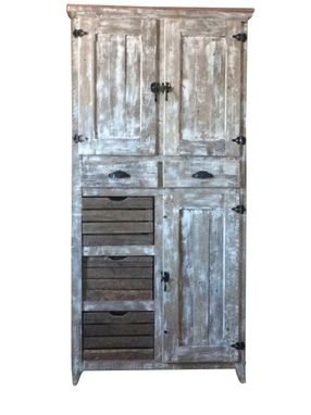 Custom Made Rustic &Distressed Pantry Cabinet In Reclaimed Wood Style