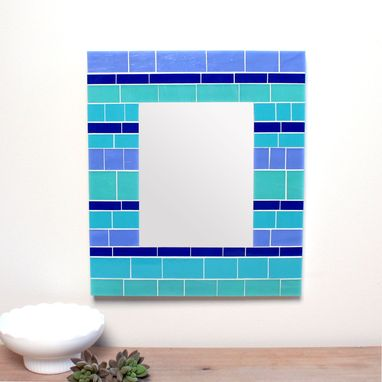 Custom Made Glass Mosaic Wall Mirror In Blue Stained Glass Tiles