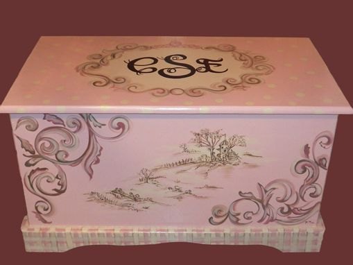 Custom Made Wooden Custom  Designed Painted Toy Chest Especially For You!!!