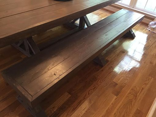 Handmade, Solid Wood Dining Table With Star-Shaped Base And Matching Benches
