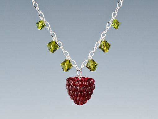 Custom Made Realistic Single Red Raspberry Necklace With Swarovski Elements Crystals