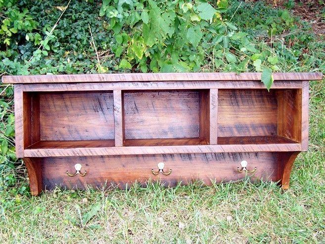 Custom Made Reclaimed Barnwood Coat Rack Cubby Shelf For Entryway