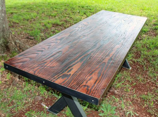 Custom Made Farm Table With Steel Base