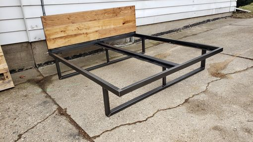 Custom Made Steel Bed Frame With Rustic Wood Headboard