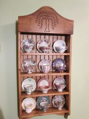 Custom Made Tea Cup Shelf. Collectors Shelf, 12 Cup Willow Pattern
