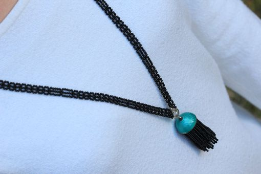 Custom Made Art Deco Hand Woven Black Onyx & Enamel Sautoir Tassel Necklace