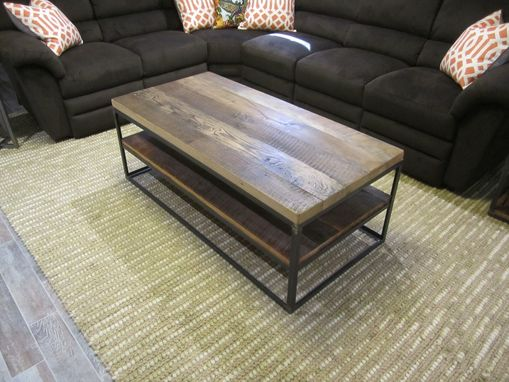 Custom Made Reclaimed Hardwood Coffee Table In Steel Box Frame