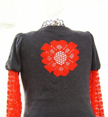 Custom Made Upcycled Cotton Sweater In Gray And Red, Extra Large