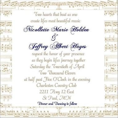 Custom Made 100 Custom Handcrafted Sheetmusic Background Wedding Invite Suites