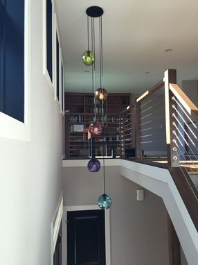 Custom Made Hand Blown Glass Gumball Multi Pendant Cluster Chandelier
