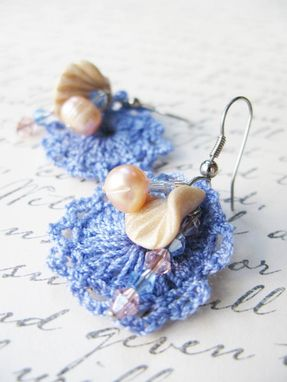 Custom Made Purple And Peach - Mini Doilies Lace And Handcrafted Polymer Clay Shell Earrings