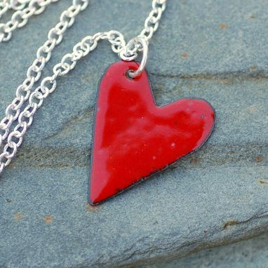 Custom Made Copper Enamel Heart Pendant Necklace Little Red