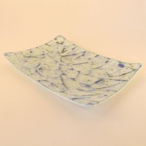 "Custom Made ""Glacier"" Fused Glass Platter"