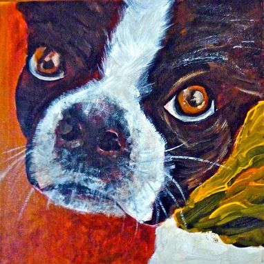 Custom Made Boston Terrier, Lucy. Unique Custom Pet Paintings Created From Photos.
