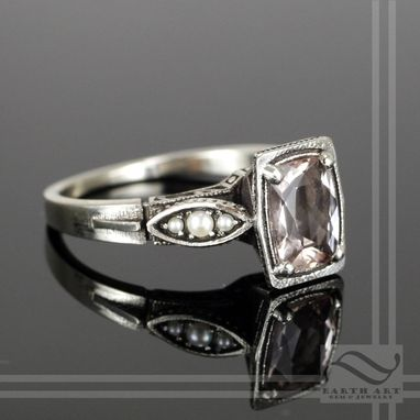 Custom Made 14k Art Deco Morganite And Pearl Engagement Ring