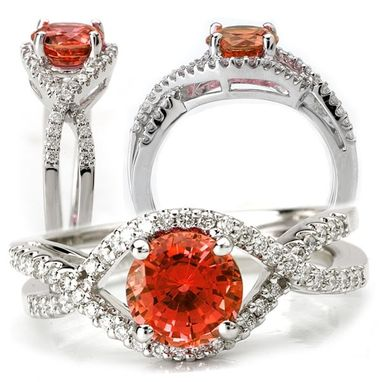 Custom Made 18k Lab-Created 6.5mm Round Padparadscha Engagement Ring With Natural Diamonds