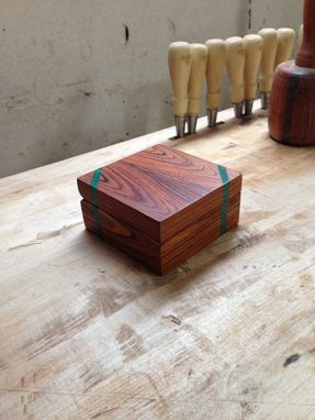 Custom Made Cocobolo Engagement Ring Box With Malachite Inlays