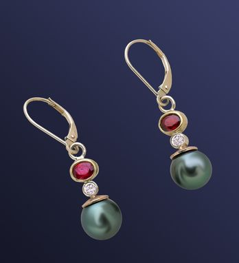 Custom Made Ruby, Diamond And Tahitian Pearl Earrings