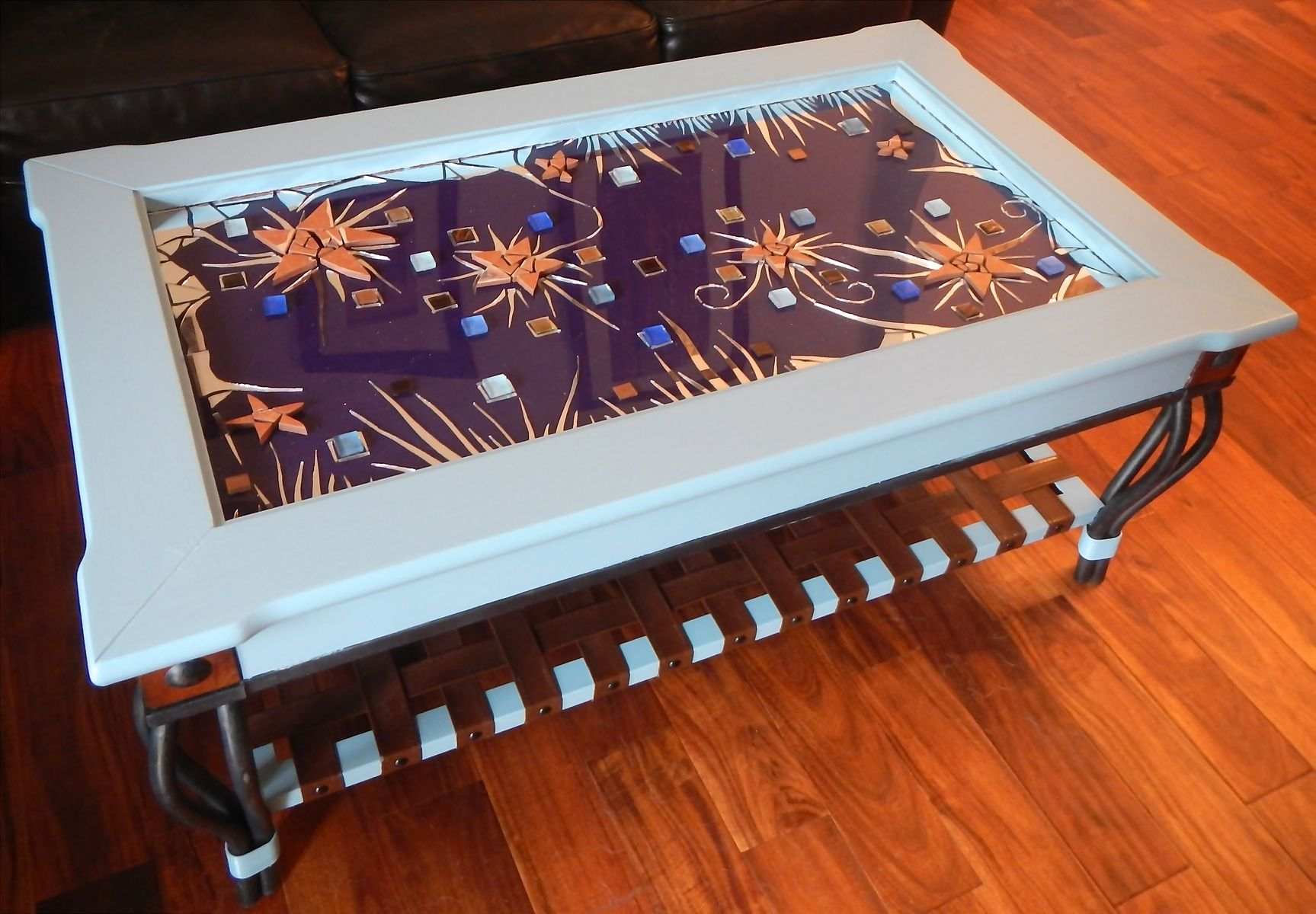 Custom Colorful Table Refinished With Original Mosaic Artwork by