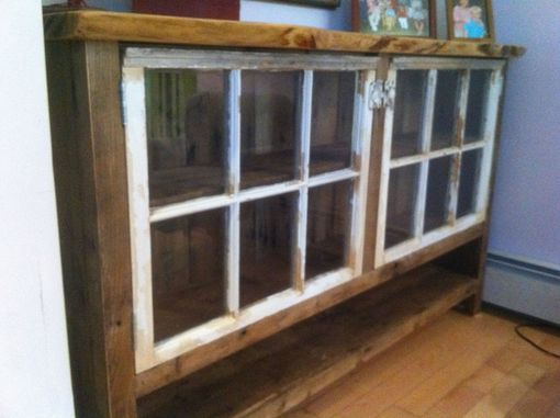 Custom Made Reclaimed Wood Sideboard With Recycled Windows