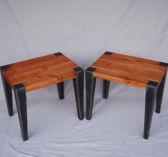 Custom Made Cherry And Steel End Tables