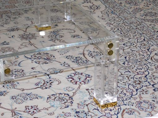 Custom Made Lucite / Acrylic Coffee Table - Brass Accent , Button Line Style - Handcrafted, Custom Size Welcome
