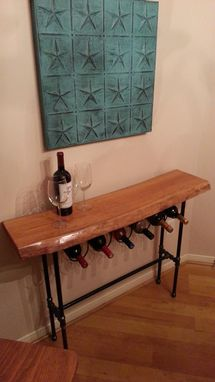 Custom Made Live Edge Cherry Wood Slab Wine Rack Table