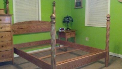 Custom Made Oak Spiral Bed Post Bed Frame