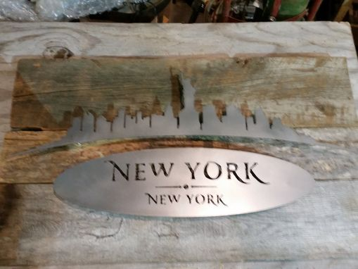 Custom Made City Skyline On Barn Wood