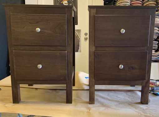 Custom Made Walnut And Hardwood Nightstands