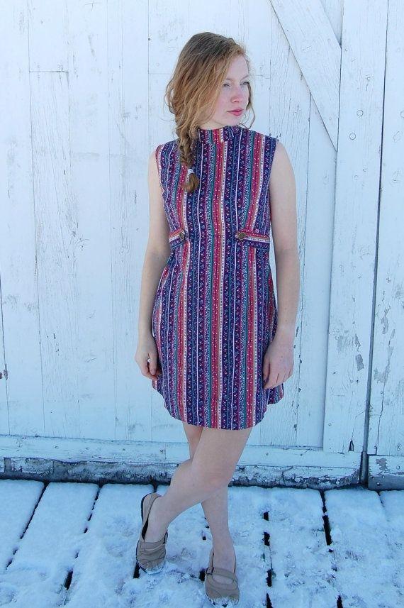 Custom Petite Dress 1960s Shift Dress With Belt Mandarin Collar ...
