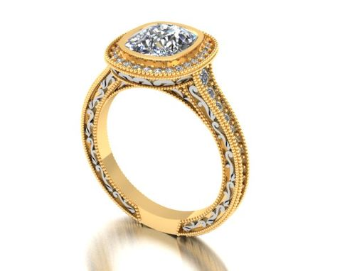 Custom Made Cushion Diamond And Gold Engagement Ring