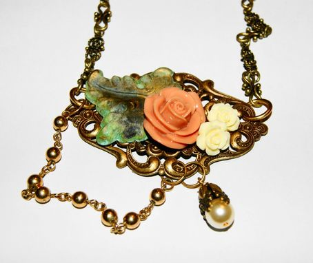 Custom Made Ooak - Shabby Chic Set - Earrings And Necklace - Brass, Resin, Shoulder Dusters