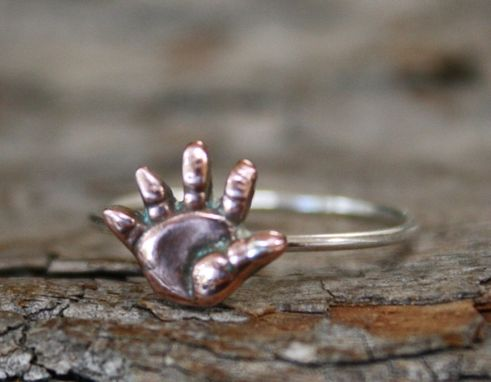 Custom Made Dainty Copper Baby Hand Ring - $30