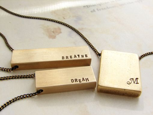 Custom Made Personalized Mens Necklace, Custom Hand Stamped Mantra Necklace, Brass Bar Pendant