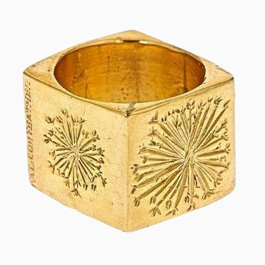 Custom Made 14k Gold Plated Square Dandelion Ring