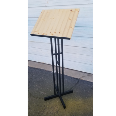 Custom Made Metal Frame And Wood Top Lecturn